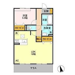 JR両毛線 佐野駅 徒歩24分の賃貸アパート 1階1LDKの間取り