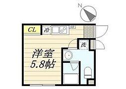PASEO代田橋 2階ワンルームの間取り