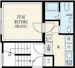 都営三田線 板橋区役所前駅 徒歩5分の賃貸マンション 1階1Kの間取り