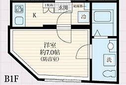 都営三田線 板橋区役所前駅 徒歩5分の賃貸マンション 2階1Kの間取り