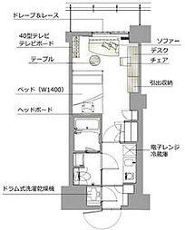 レックスガーデン神楽坂北町 3階1Kの間取り