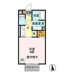 JR信越本線 北高崎駅 徒歩34分の賃貸アパート 2階ワンルームの間取り