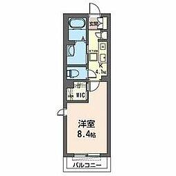 仮)八幡宿駅平成通りマンション 2階1Kの間取り
