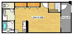 JR武蔵野線 東所沢駅 徒歩13分の賃貸マンション 1階1Kの間取り
