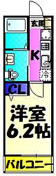 JR総武本線 東千葉駅 徒歩10分の賃貸アパート 3階1Kの間取り