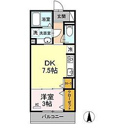 名鉄各務原線 細畑駅 徒歩20分の賃貸アパート 2階1DKの間取り
