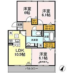 JR御殿場線 御殿場駅 徒歩33分の賃貸アパート 1階3LDKの間取り