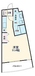 名鉄名古屋本線 有松駅 徒歩7分の賃貸マンション 2階ワンルームの間取り
