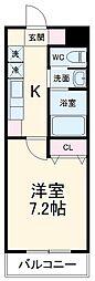 A・City鳴海 2階1Kの間取り
