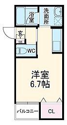 ヴァンベール岡崎 2階ワンルームの間取り