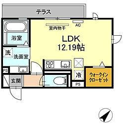JR東海道本線 岡崎駅 徒歩23分の賃貸アパート 1階ワンルームの間取り