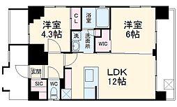 JR京浜東北・根岸線 大宮駅 徒歩9分の賃貸マンション 10階2LDKの間取り