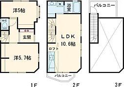 都営三田線 板橋区役所前駅 徒歩8分の賃貸一戸建て 1階2LDKの間取り