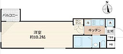 Beverly Homes 赤塚公園II 4階1Kの間取り