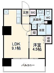 津田沼ザ・タワー 33階1LDKの間取り