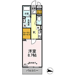ハーウェル湘南台 2階1Kの間取り