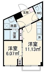 西武新宿線 東村山駅 徒歩5分の賃貸マンション 3階1DKの間取り