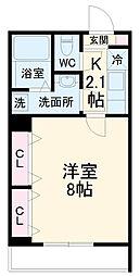 JR南武線 久地駅 徒歩9分の賃貸アパート 1階1Kの間取り