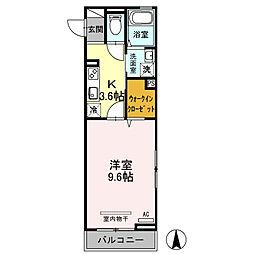 コンフォール戸田公園 1階1Kの間取り