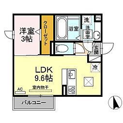 JR東海道本線 三河大塚駅 徒歩11分の賃貸アパート 1階1LDKの間取り