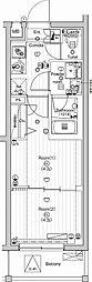 東急多摩川線 武蔵新田駅 徒歩9分の賃貸マンション 4階2Kの間取り