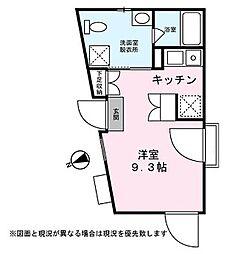Colline 2階ワンルームの間取り