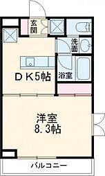 Blanc Ikegami 2階1DKの間取り