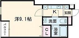 東武東上線 下赤塚駅 徒歩10分の賃貸マンション 1階1Kの間取り