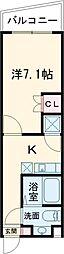 東武東上線 下赤塚駅 徒歩10分の賃貸マンション 3階1Kの間取り