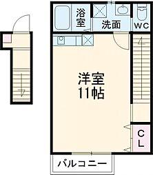 東京メトロ有楽町線 地下鉄成増駅 徒歩4分の賃貸アパート 2階ワンルームの間取り
