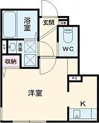 JR中央線 三鷹駅 徒歩12分の賃貸アパート 1階ワンルームの間取り