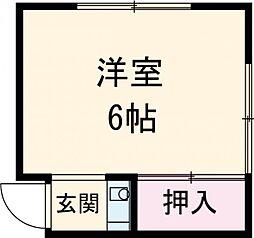東武東上線 下板橋駅 徒歩5分の賃貸アパート 2階ワンルームの間取り