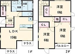 JR山手線 池袋駅 徒歩9分の賃貸一戸建て 1階3LDKの間取り