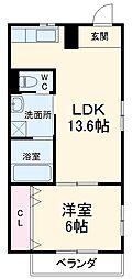 名鉄犬山線 犬山口駅 徒歩7分の賃貸アパート 2階1LDKの間取り