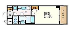 プレサンス桜通ベルノ 14階1Kの間取り