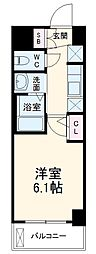 エステムコート名古屋泉プラチナムゲート 6階1Kの間取り