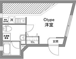 京王線 上北沢駅 徒歩6分の賃貸マンション 4階ワンルームの間取り