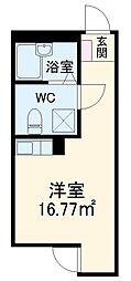 JR南武線 宿河原駅 徒歩10分の賃貸アパート 1階ワンルームの間取り