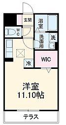 名鉄西尾線 桜町前駅 徒歩10分の賃貸アパート 1階ワンルームの間取り