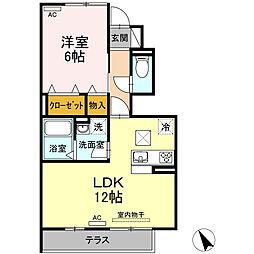 名鉄西尾線 福地駅 3.2kmの賃貸アパート 1階1LDKの間取り