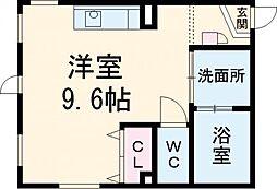 ARK岩塚駅南 A棟 4階ワンルームの間取り