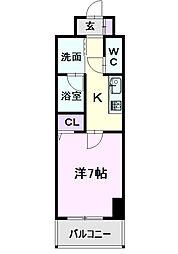 仮)道下町4丁目プロジェクト 8階1Kの間取り