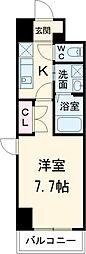 プログレッソ桜山 4階1Kの間取り