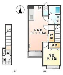 JR篠栗線 門松駅 徒歩15分の賃貸アパート 2階1LDKの間取り