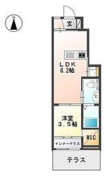 JR香椎線 酒殿駅 徒歩9分の賃貸アパート 1階1LDKの間取り