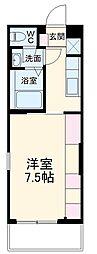 JR鹿児島本線 吉塚駅 徒歩8分の賃貸マンション 2階1Kの間取り