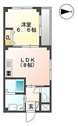 JR篠栗線 篠栗駅 徒歩14分の賃貸アパート 2階1SDKの間取り