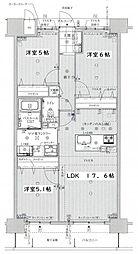JR篠栗線 柚須駅 徒歩15分の賃貸マンション 6階3LDKの間取り