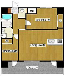 JR鹿児島本線 吉塚駅 徒歩15分の賃貸マンション 5階2LDKの間取り