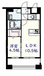 JR鹿児島本線 吉塚駅 徒歩10分の賃貸マンション 9階1LDKの間取り